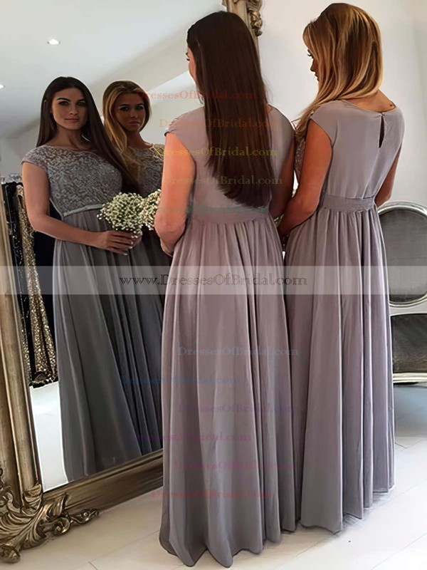 A-line Scoop Neck Chiffon Tulle Floor-length with Appliques Lace New Style Bridesmaid Dresses #DOB01012962