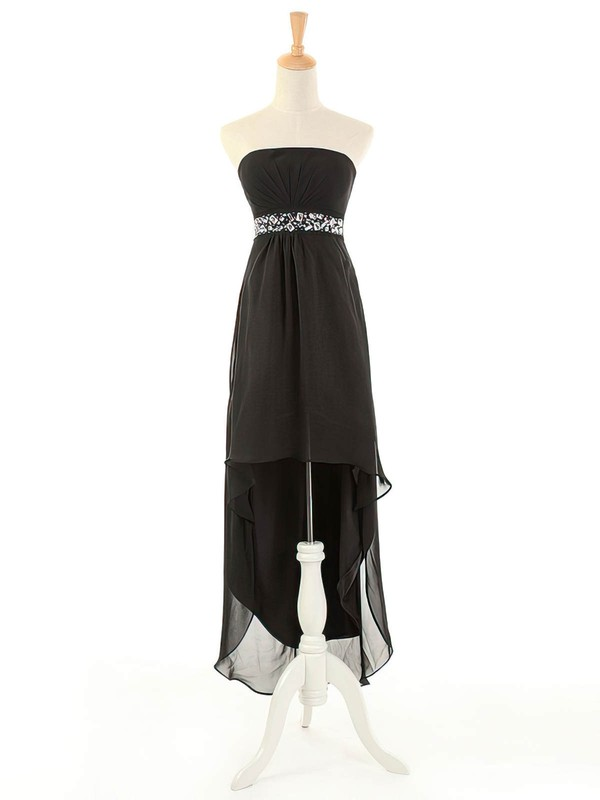Black Empire Asymmetrical Chiffon with Beading Strapless Simple Bridesmaid Dresses #DOB01012963