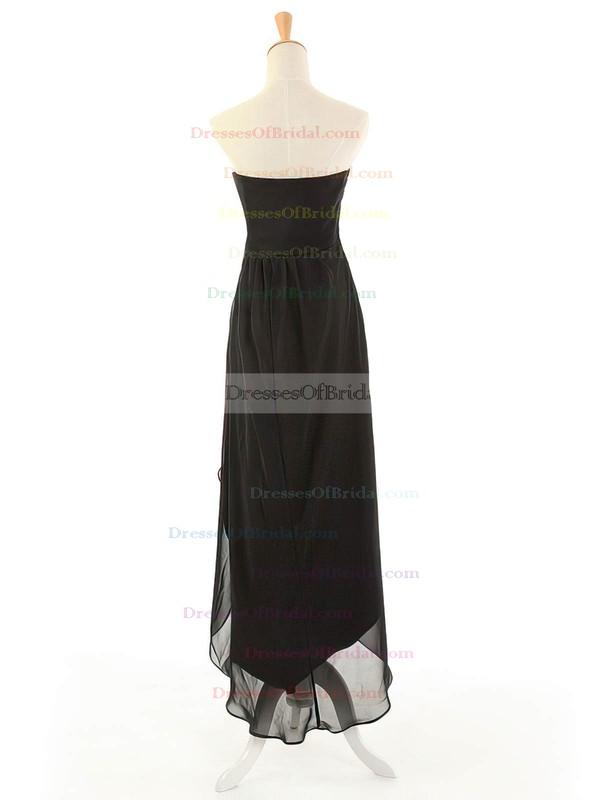 Black Empire Asymmetrical Chiffon with Beading Strapless Simple Bridesmaid Dresses #DOB01012963
