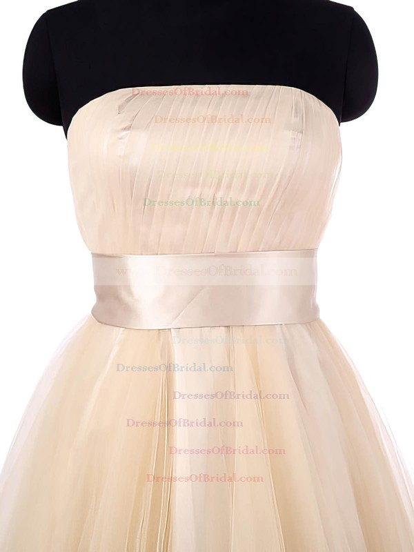 Sweet A-line Asymmetrical Tulle with Sashes / Ribbons Strapless Bridesmaid Dresses #DOB01012964
