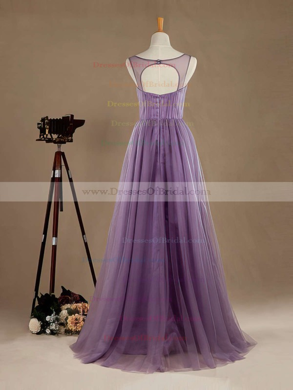 Open Back A-line V-neck Tulle Floor-length Beading Latest Bridesmaid Dresses #DOB01012965