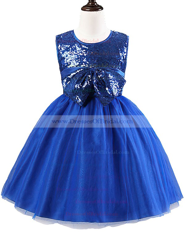 Cheap A-line Scoop Neck Tulle Sequined with Bow Tea-length Flower Girl Dresses #DOB01031902