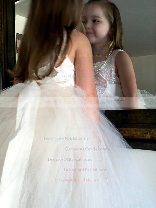 Princess Scoop Neck Lace Tulle with Bow Beautiful Ankle-length Flower Girl Dresses #DOB01031903