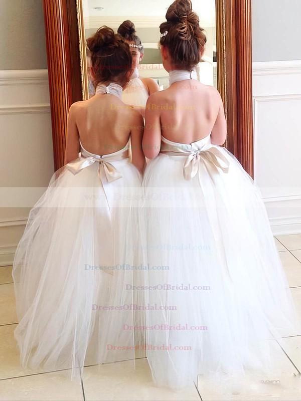 Backless A-line Tulle Floor-length Sashes / Ribbons Simple Halter Flower Girl Dresses #DOB01031904