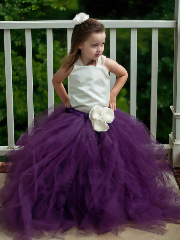 Princess Square Neckline Tulle with Flower(s) Floor-length Perfect Flower Girl Dresses #DOB01031906