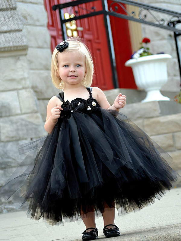 Famous Princess Square Neckline Black Tulle with Flower(s) Tea-length Flower Girl Dresses #DOB01031907