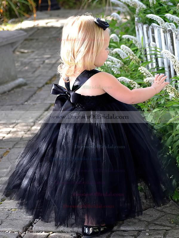 Famous Princess Square Neckline Black Tulle with Flower(s) Tea-length Flower Girl Dresses #DOB01031907