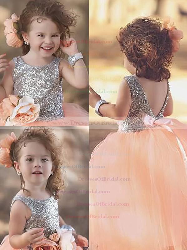 Ball Gown Scoop Neck Tulle Sequined Flower(s) Floor-length Backless Sparkly Flower Girl Dresses #DOB01031909