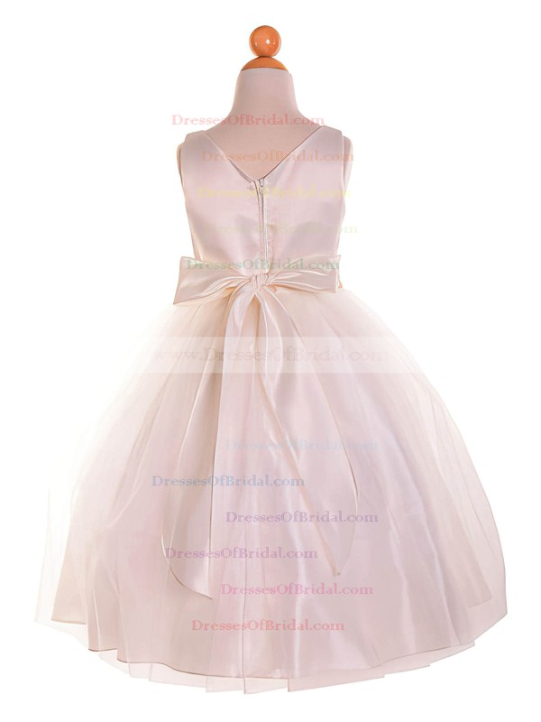 Affordable A-line Scoop Neck Tulle with Bow Tea-length Flower Girl Dresses #DOB01031910