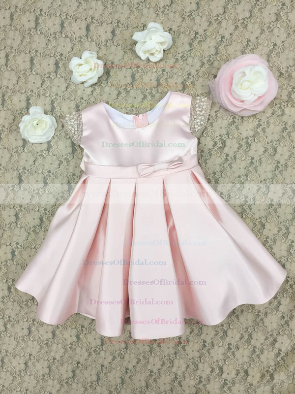 Latest A-line Scoop Neck Pink Satin with Bow Ankle-length Flower Girl Dresses #DOB01031912