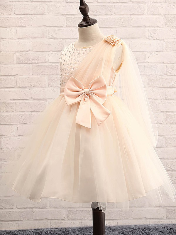 Ball Gown Scoop Neck Tulle with Beading Inexpensive Tea-length Flower Girl Dresses #DOB01031913