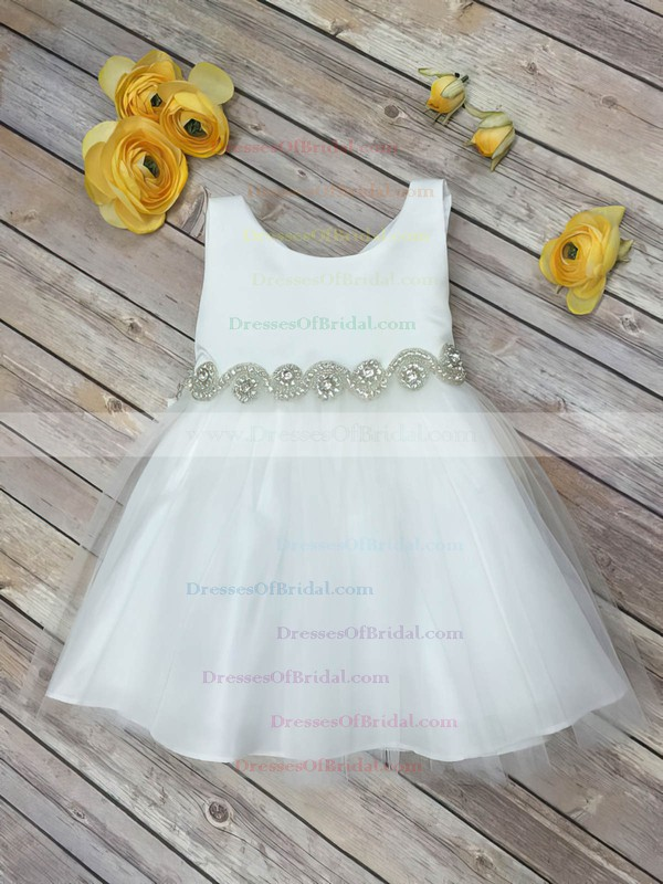 Wholesale A-line Scoop Neck Tulle with Beading Tea-length Flower Girl Dresses #DOB01031914