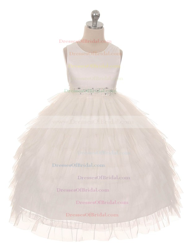Princess Scoop Neck Tulle with Beading Promotion Ankle-length Flower Girl Dresses #DOB01031915