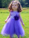 Tea-length A-line Scoop Neck Tulle Sequined Sashes / Ribbons Pretty Flower Girl Dresses #DOB01031917