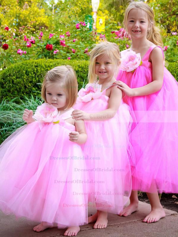 Sweet Empire Square Neckline Tulle Sashes / Ribbons Ankle-length Flower Girl Dresses #DOB01031918