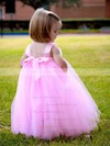 Sweet Empire Square Neckline Tulle Sashes / Ribbons Ankle-length Flower Girl Dresses #DOB01031918