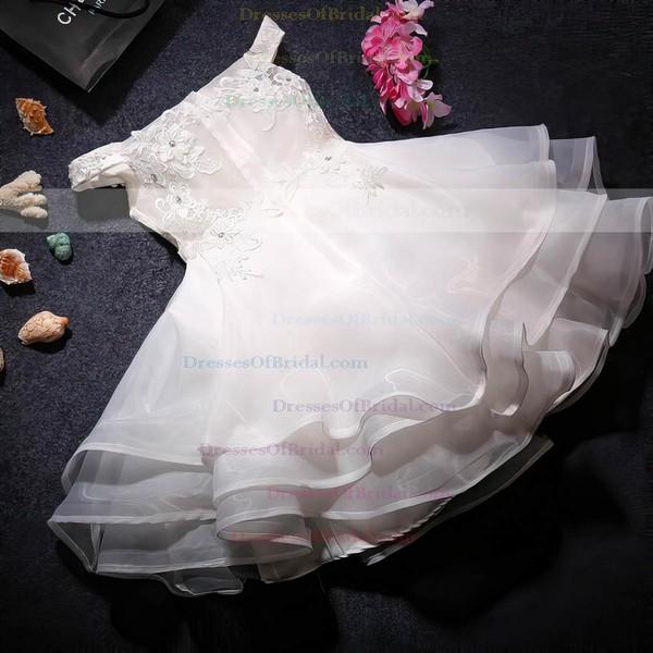 Custom Tea-length A-line Organza with Beading Off-the-shoulder Flower Girl Dresses #DOB01031919