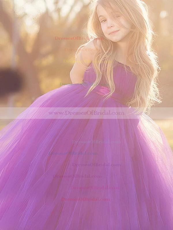 Trendy Square Neckline Tulle Sashes / Ribbons Floor-length Princess Flower Girl Dresses #DOB01031920