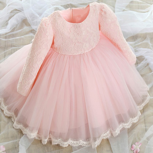 Popular Ball Gown Scoop Neck Lace Tulle with Bow Ankle-length Long Sleeve Flower Girl Dresses #DOB01031921