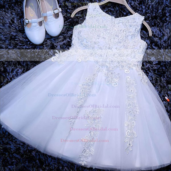 Discounted A-line Scoop Neck White Tulle Appliques Lace Tea-length Flower Girl Dresses #DOB01031922