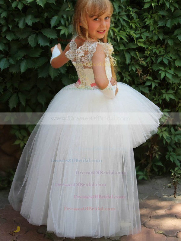 Scoop Neck Tulle with Beading Ball Gown Asymmetrical Different Flower Girl Dresses #DOB01031923
