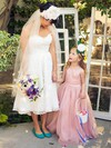 Fashion A-line Scoop Neck Organza Sashes / Ribbons Floor-length Flower Girl Dresses #DOB01031925