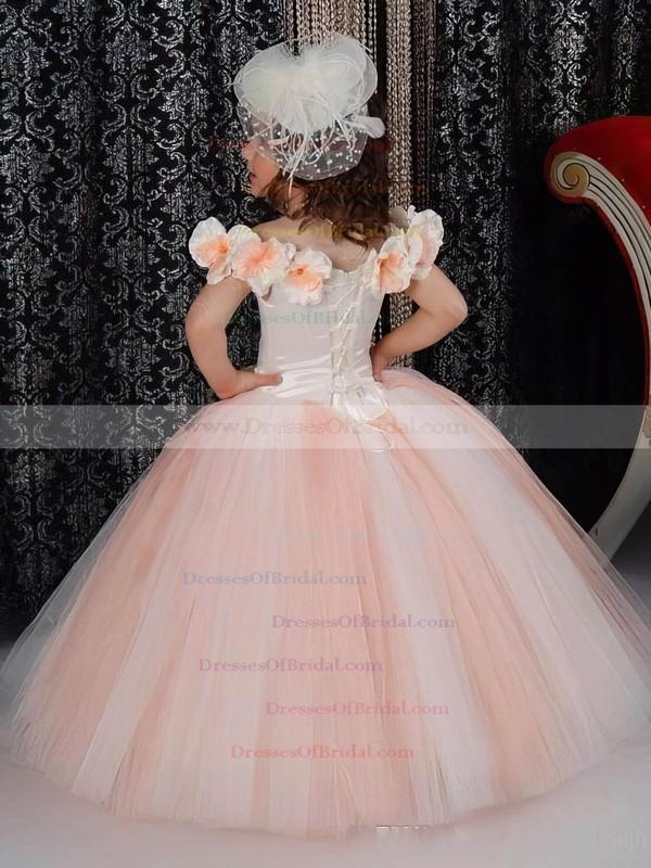 Scoop Neck Tulle with Flower(s) Floor-length Noble Ball Gown Flower Girl Dresses #DOB01031926