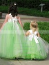 A-line Square Neckline Tulle with Bow Floor-length Popular Flower Girl Dresses #DOB01031927
