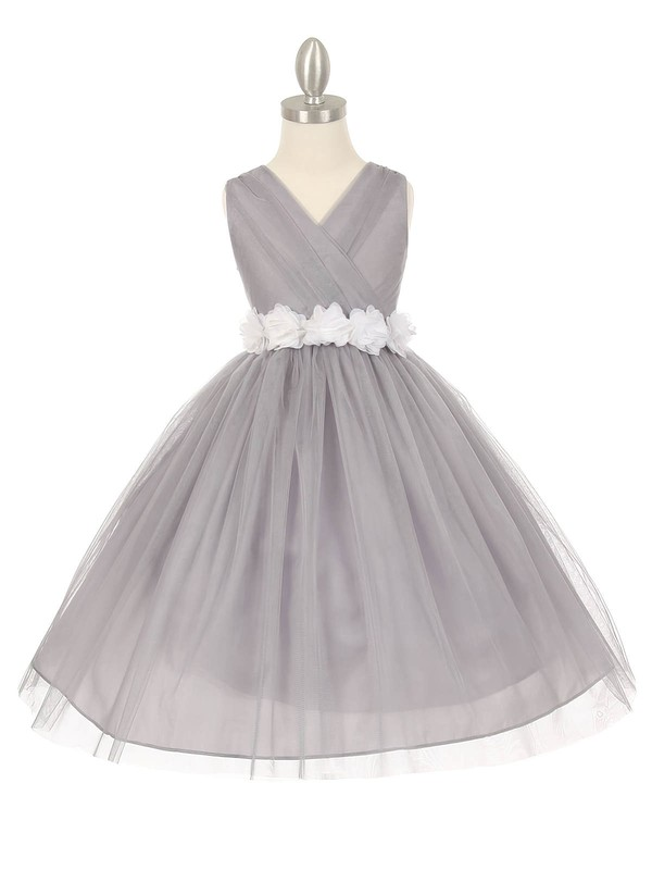 Online V-neck Tulle Sashes / Ribbons Floor-length Ball Gown Flower Girl Dresses #DOB01031928
