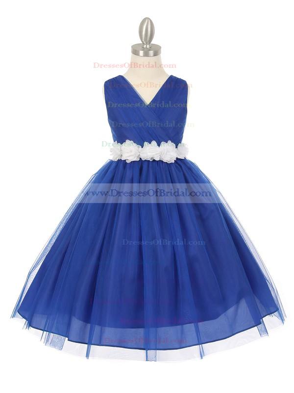 Online V-neck Tulle Sashes / Ribbons Floor-length Ball Gown Flower Girl Dresses #DOB01031928
