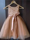 Top A-line Scoop Neck Lace Tulle Sashes / Ribbons Ankle-length Flower Girl Dresses #DOB01031929