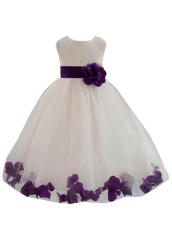 Ball Gown Scoop Neck Tulle Sashes / Ribbons Floor-length Nice Flower Girl Dresses #DOB01031930