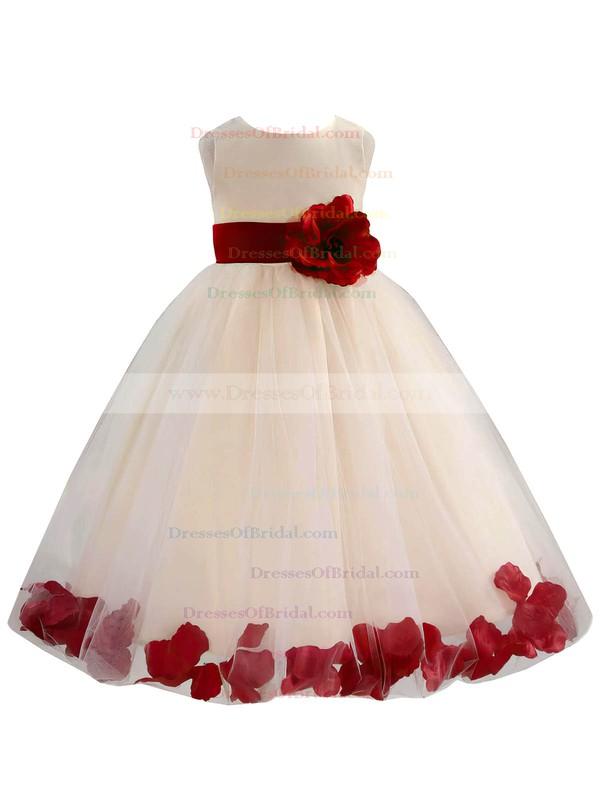 Ball Gown Scoop Neck Tulle Sashes / Ribbons Floor-length Nice Flower Girl Dresses #DOB01031930