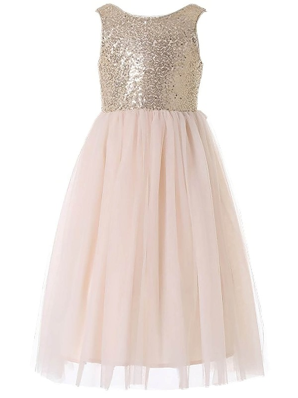 Newest A-line Scoop Neck Tulle Sequined with Bow Floor-length Flower Girl Dresses #DOB01031931