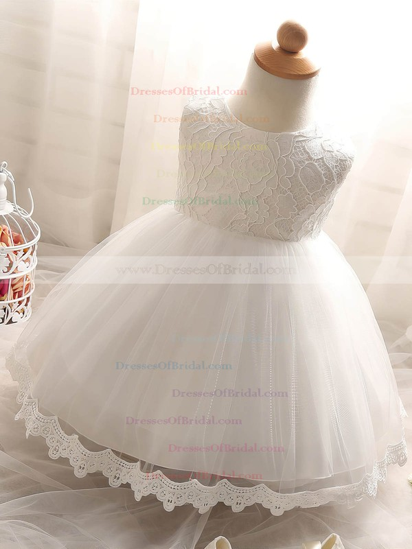 Ball Gown Scoop Neck Lace Tulle with Bow Prettiest Tea-length Flower Girl Dresses #DOB01031932