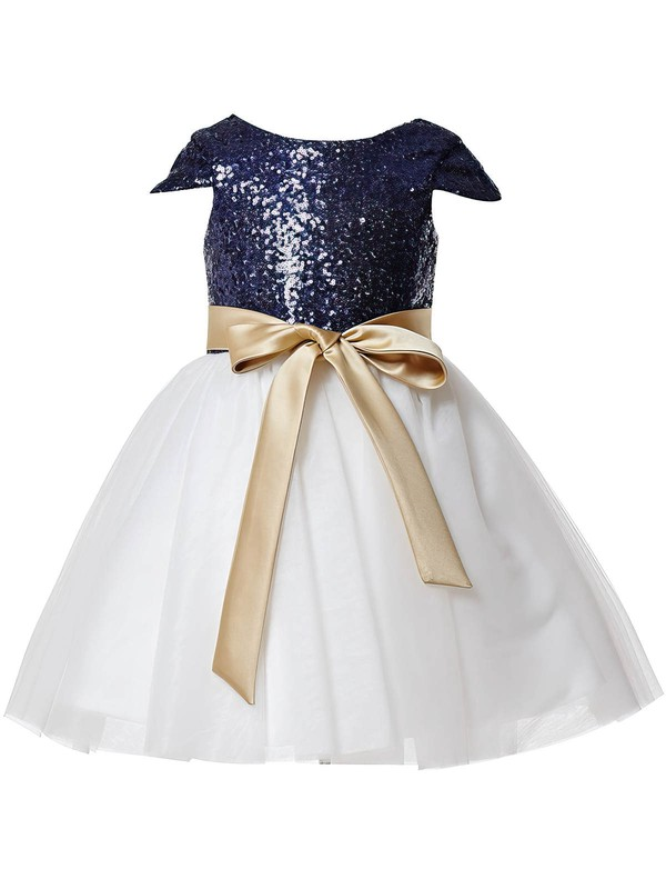 Best A-line Scoop Neck Tulle Sequined Sashes / Ribbons Ankle-length Flower Girl Dresses #DOB01031933