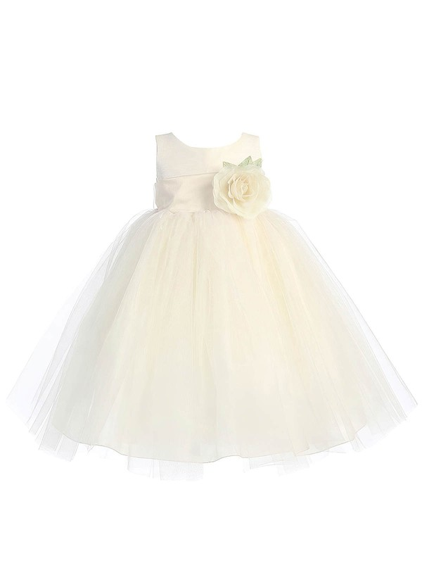 Discounted Scoop Neck Tulle Sashes / Ribbons Floor-length Ball Gown Flower Girl Dresses #DOB01031934