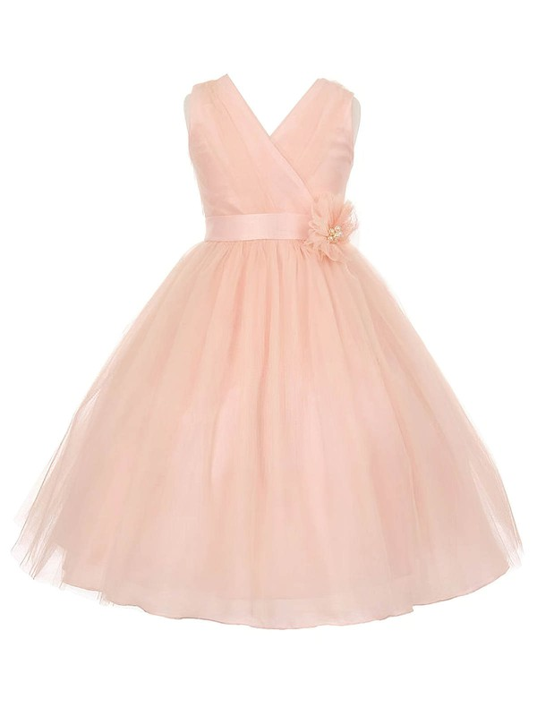 Beautiful V-neck Tulle Sashes / Ribbons Floor-length Princess Flower Girl Dresses #DOB01031936