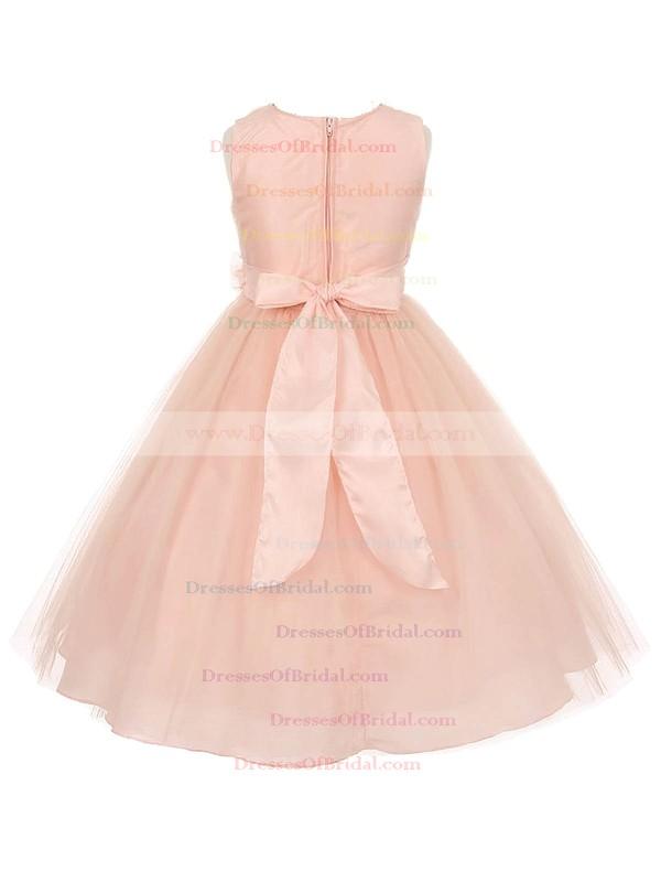 Beautiful V-neck Tulle Sashes / Ribbons Floor-length Princess Flower Girl Dresses #DOB01031936