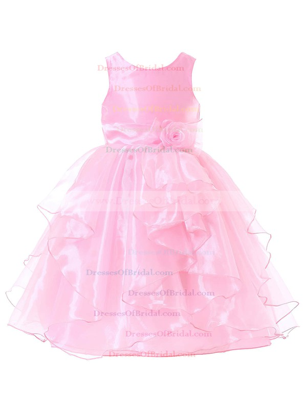 Ball Gown Scoop Neck Organza Sashes / Ribbons Floor-length Boutique Flower Girl Dresses #DOB01031937