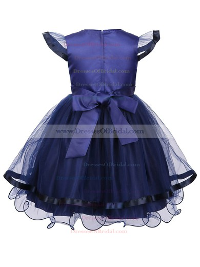 New Style A-line Scoop Neck Tulle Sashes / Ribbons Ankle-length Flower Girl Dresses #DOB01031939