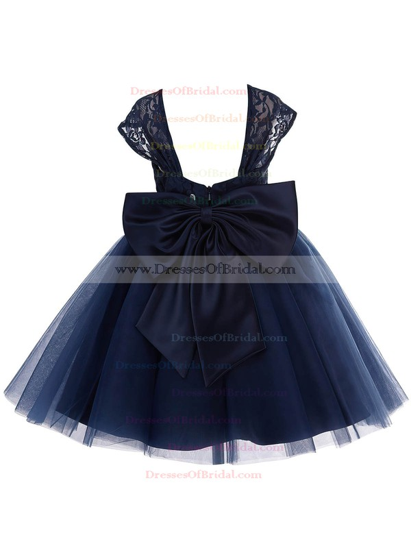 Princess Sweetheart Dark Navy Lace Tulle with Bow Tea-length Flower Girl Dresses #DOB01031943