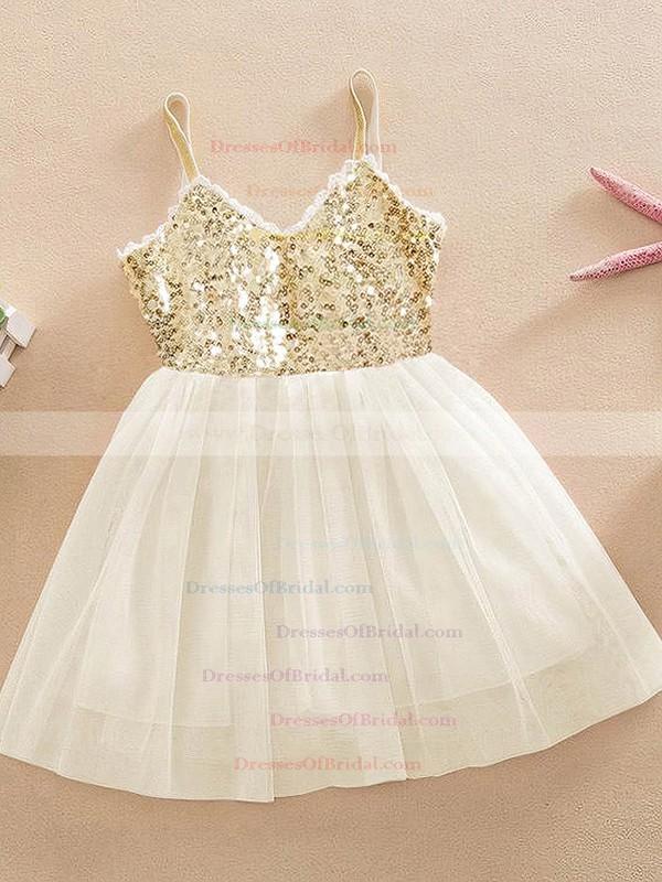 A-line V-neck Tulle with Sequins Unusual Knee-length Flower Girl Dresses #DOB01031946