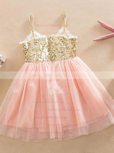 A-line V-neck Tulle with Sequins Unusual Knee-length Flower Girl Dresses #DOB01031946