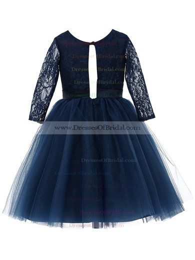 Online A-line Scoop Neck Lace Tulle Sashes / Ribbons Long Sleeve Tea-length Flower Girl Dresses #DOB01031947