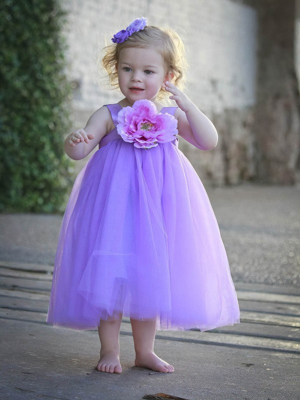 Unique A-line Square Neckline Tulle with Flower(s) Tea-length Flower Girl Dresses #DOB01031948