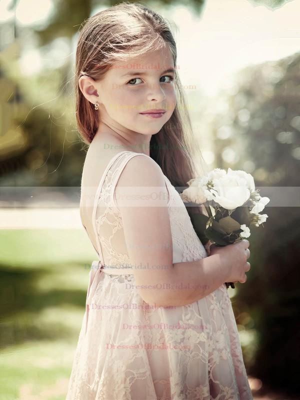 Promotion A-line Scoop Neck Lace Sashes / Ribbons Knee-length Flower Girl Dresses #DOB01031949