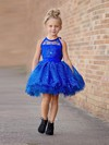 Ball Gown Scoop Neck Tulle Appliques Lace Short/Mini Cute Flower Girl Dresses #DOB01031950