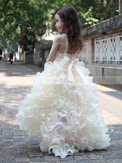 Asymmetrical A-line V-neck Organza with Beading Latest Flower Girl Dresses #DOB01031951