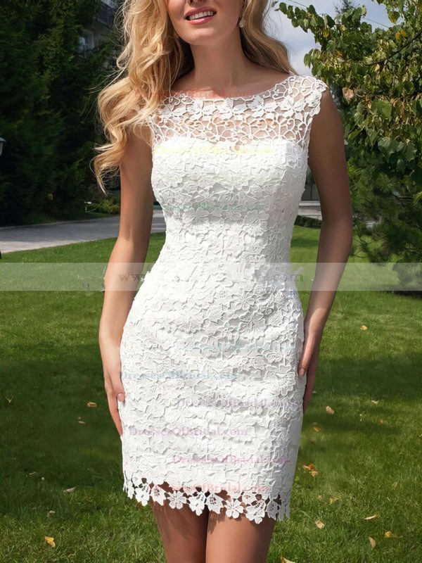 Modern Scoop Neck Sheath/Column Lace Tulle Ruffles Open Back Detachable Wedding Dresses #DOB00022524